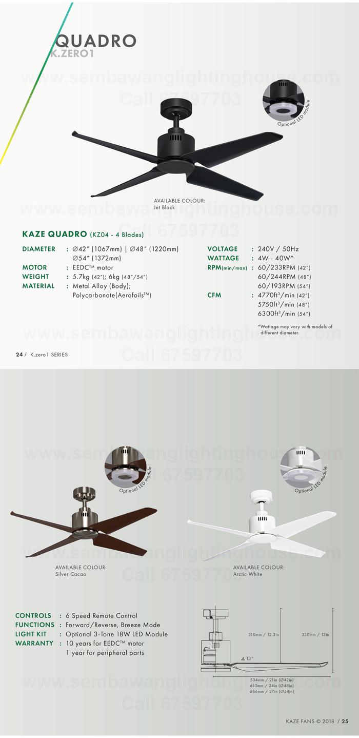 Kaze Quadro 48 Quot 54 Quot Dc Ceiling Fan No Light White
