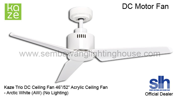 Kaze Trio 46 52 DC Ceiling Fan No LightWhite